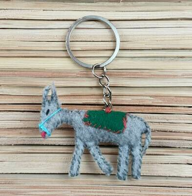 Donkey with Green Saddle-Rug Keychain