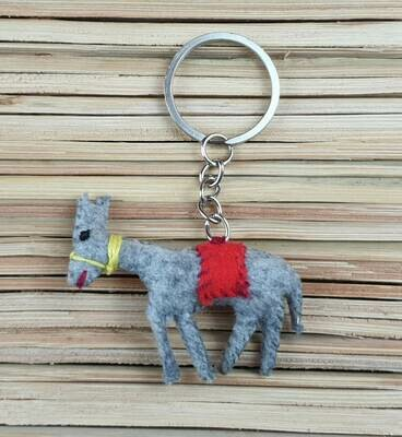 Donkey with Red Saddle-Rug Keychain