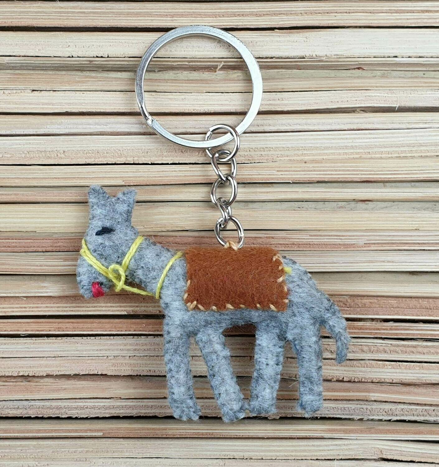 Donkey with Brown Saddle-Rug Keychain