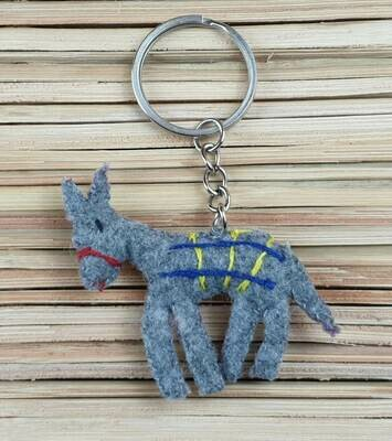 Donkey with Embroidered Saddle-Rug Keychain