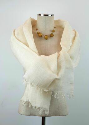 Off-White Linen Shawl