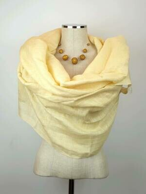 Yellowish Cream Linen Shawl