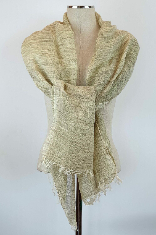 Olive & Beige Striped Linen Shawl