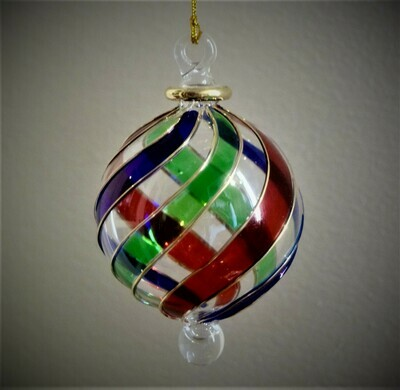 Twisted Multicolor Glass Ball Ornament