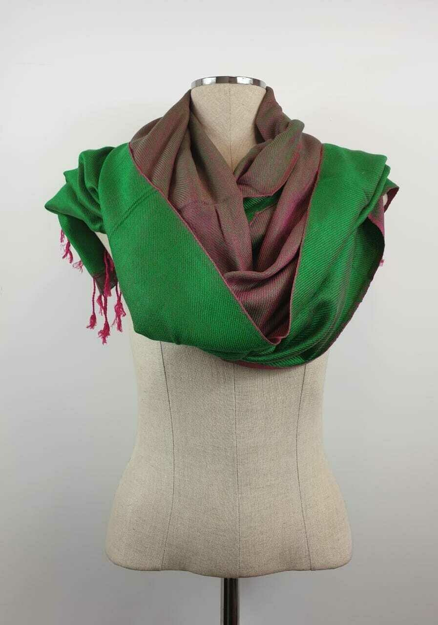 Doubleface Shawl Green & Fuchsia