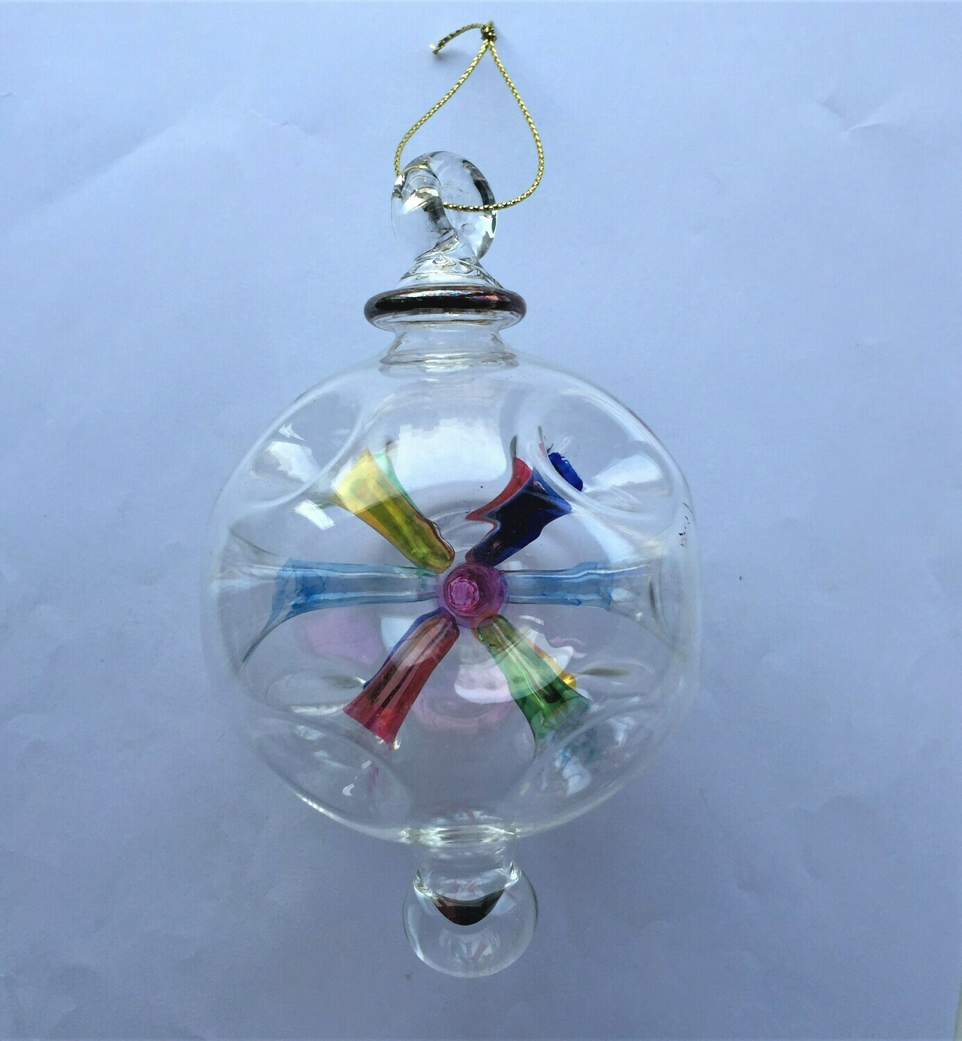 Glass Ball with Colored Holes Ornament