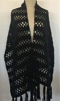 Black wool crochet shawl 52X180cm
