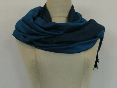 Doubleface Shawl Teal & Black