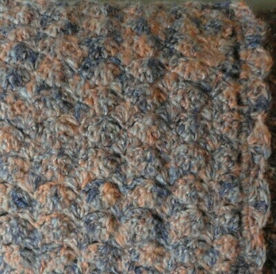 Mini Blanket: Blue, Salmon & Grey Mohair