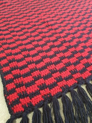 Blanket with Fringe: Red & Navy Blue