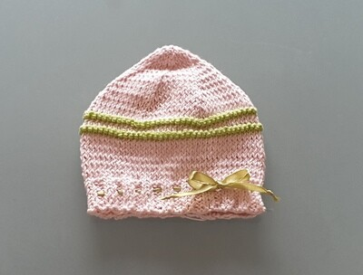 Knit Cotton Cap Pink & Apple Green