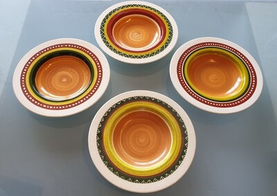 Semi Deep Hand-painted Plates (Set of 4)