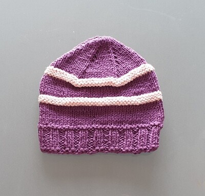 Knit Cotton Cap: Purple & Pink