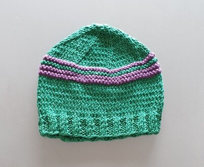 Knit Cotton Cap: Green & Purple