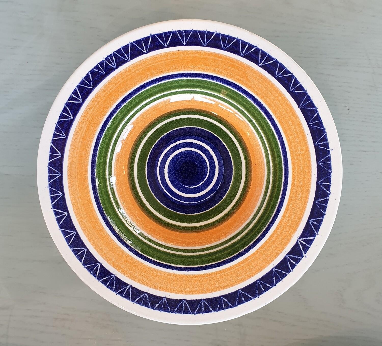 Semi Deep Plate: Blue, Orange, Green