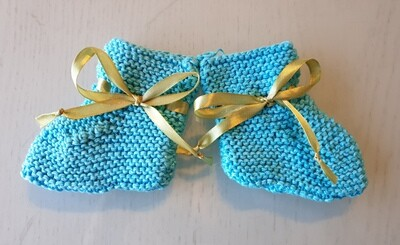 Baby Booties: Turquoise with Olive Ribbon