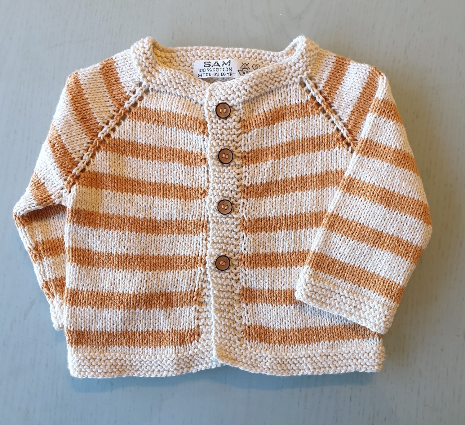 Off White & Beige Striped Jacket (Small)