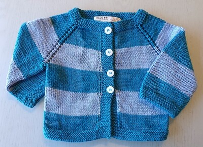 Petrol Blue & Light Blue Striped Jacket (Small/Large/XL)