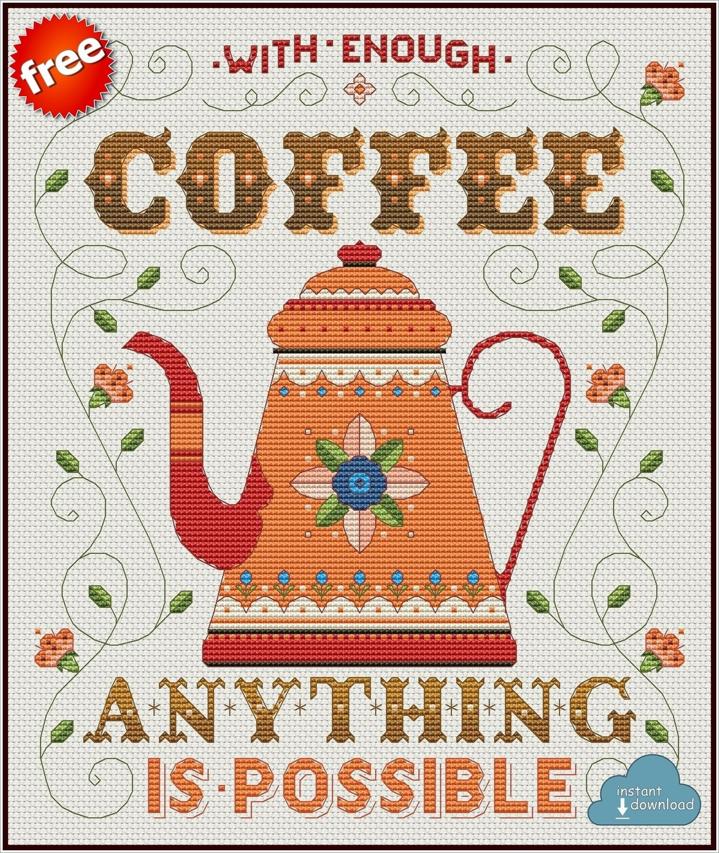 Coffee Pot Cross Stitch Pattern PDF + XSD. Instant Download. FREE