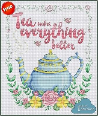 Tea Time Cross Stitch Pattern PDF + XSD. Instant Download. FREE