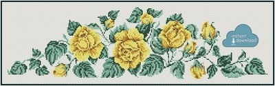 Yellow Roses Cross Stitch Pattern PDF + XSD. Instant Download.