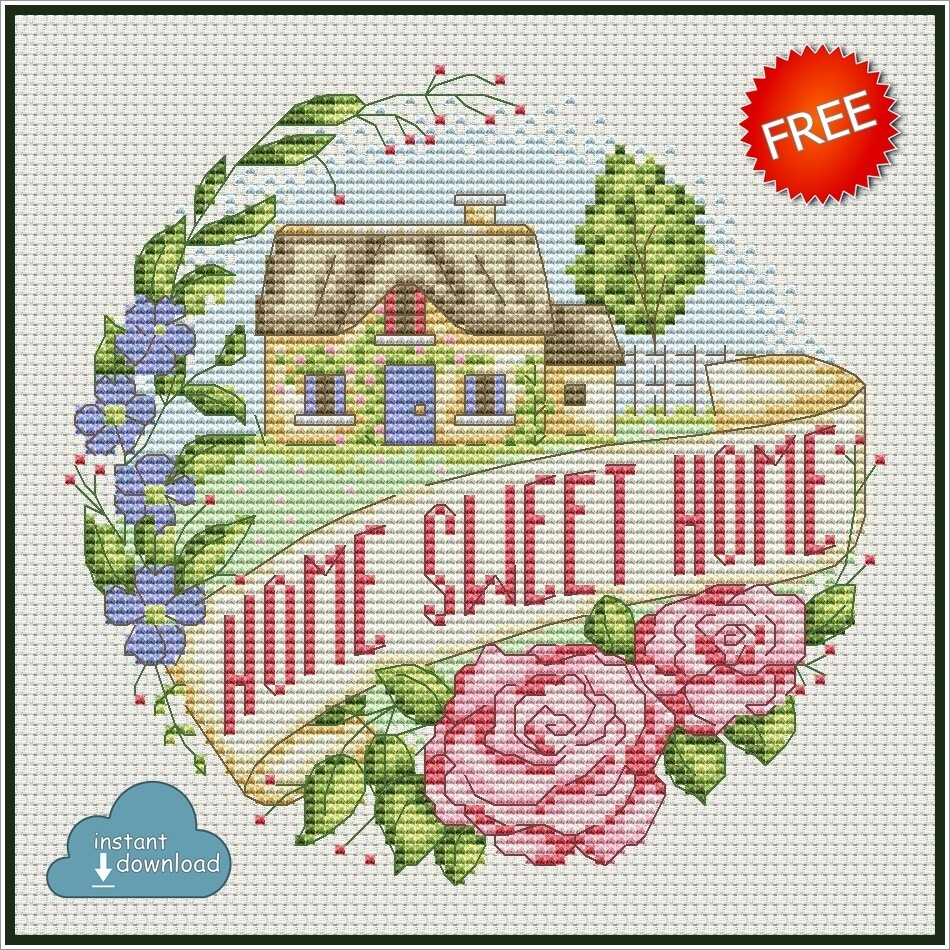 Home Sweet Home Cross Stitch Pattern PDF + XSD. Instant Download. FREE