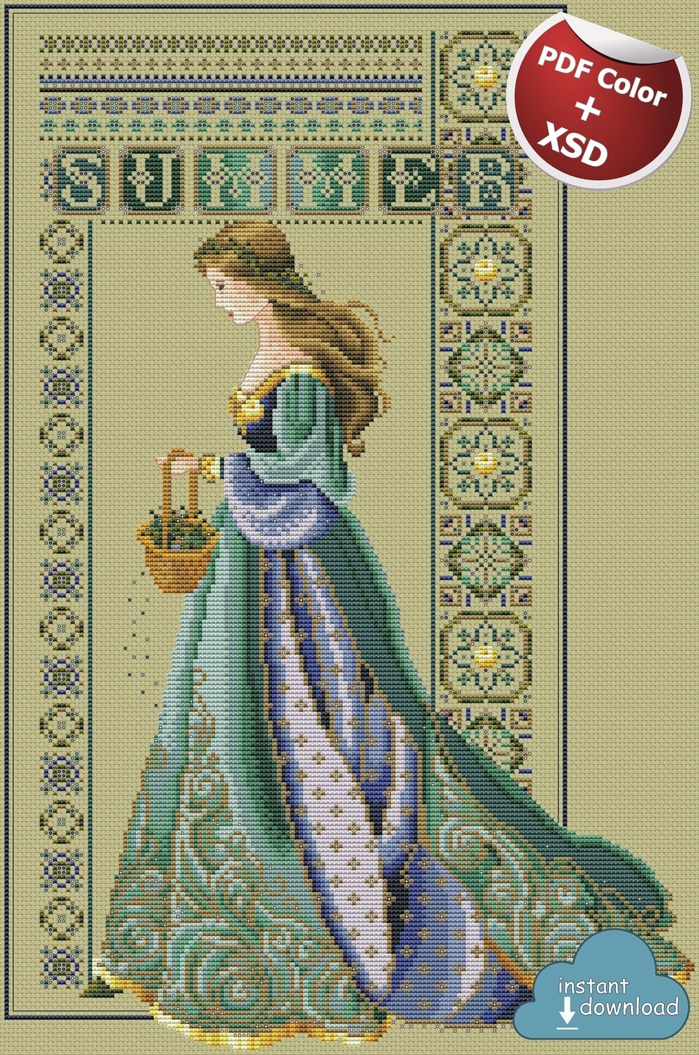 Celtic Summer Cross Stitch Pattern PDF + XSD. Instant Download