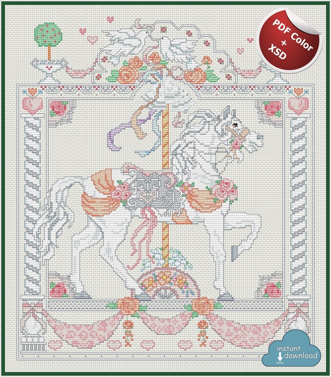 Carousel Horses June Cross Stitch Pattern PDF Color + XSD. Instant Download