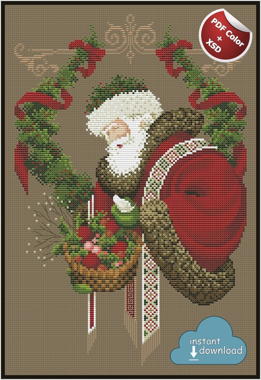 Gift of Peace Christmas Cross Stitch Pattern PDF + XSD. Instant Download