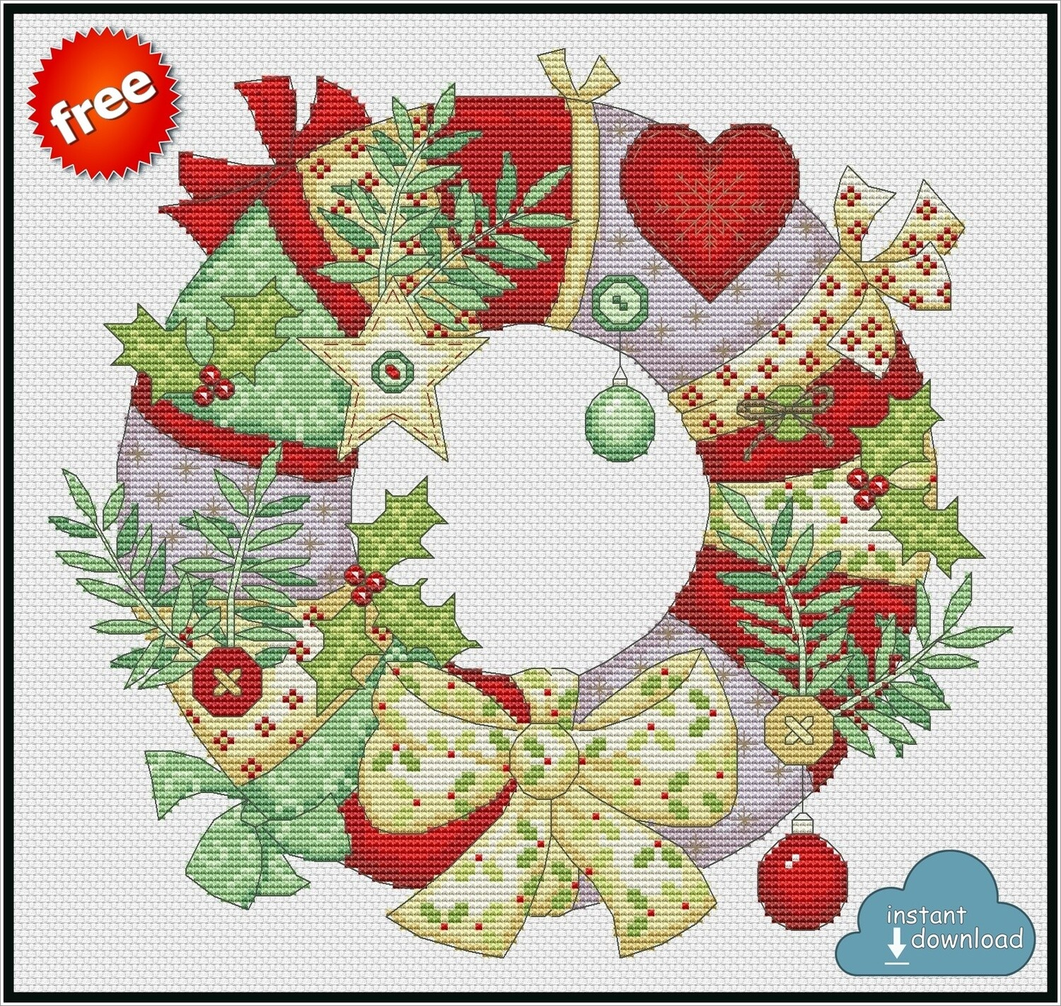 Christmas Wreath Cross Stitch Pattern PDF Color + XSD. Instant Download. FREE