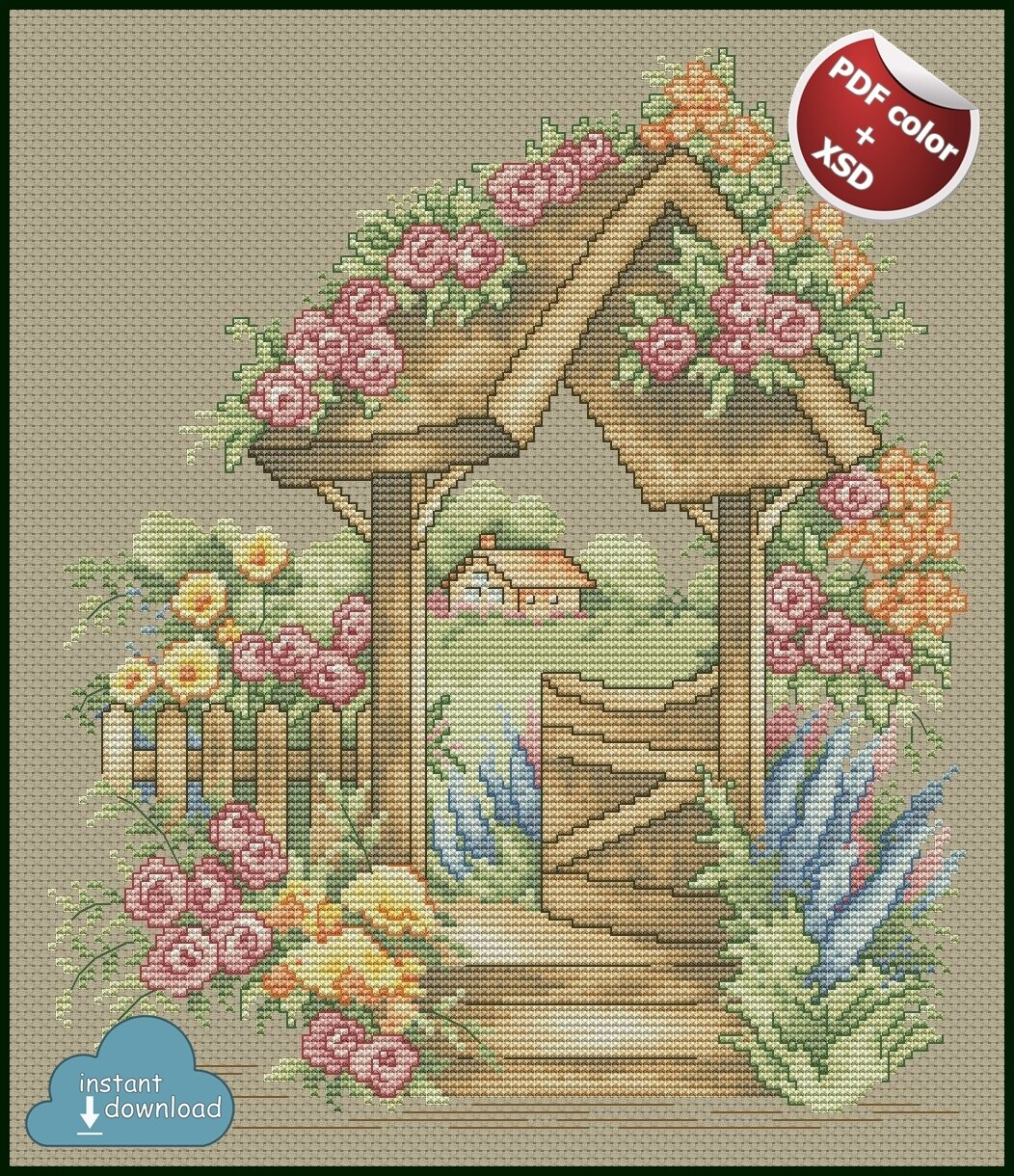 Rose Garden Cross Stitch Pattern PDF + XSD. Instant Download. Only 4 in stock!