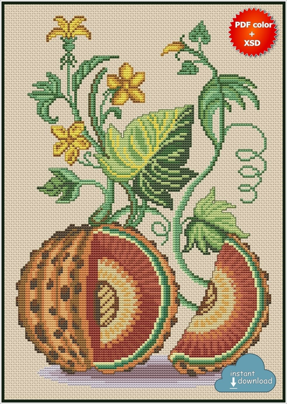 Squash Cross Stitch Pattern PDF + XSD. Instant Download. Only 5 in stock!