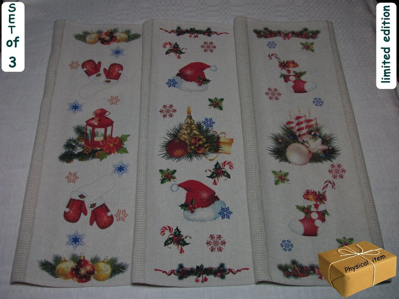 """""""Christmas Towels Set #2"""". Kitchen Towels Set (3 pieces)"""