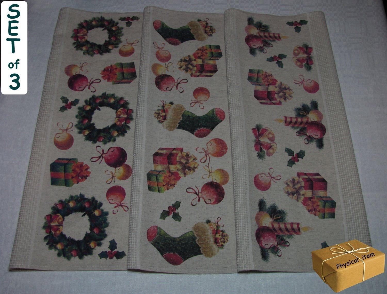 """""""Christmas Towels Set #1"""". Kitchen Towels Set (3 pieces)"""