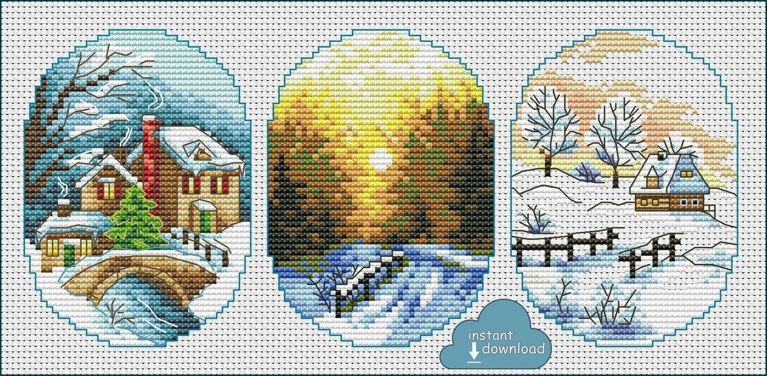 Christmas Village Cards Set #3 Cross Stitch Pattern PDF + XSD. Instant Download