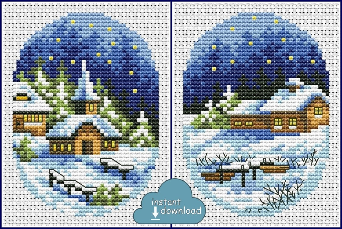 Christmas Village Cards Set #2 Cross Stitch Pattern PDF. Instant Download