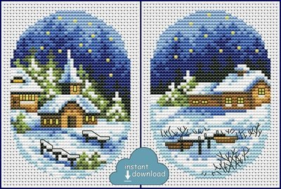 Christmas Village Cards Set #2 Cross Stitch Pattern PDF + XSD. Instant Download