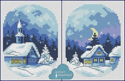 Christmas Village Cards Set #1 Cross Stitch Pattern PDF + XSD. Instant Download