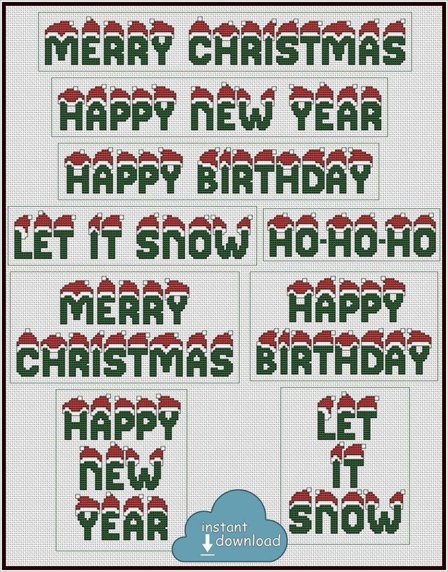 Christmas & New Year Greetings Set Cross Stitch Pattern PDF. Instant Download.
