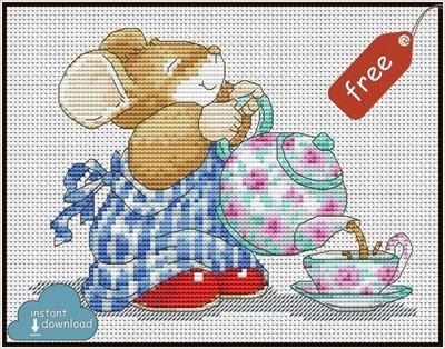 Tom Mouse Cross Stitch Pattern PDF + XSD. Instant Download. Free