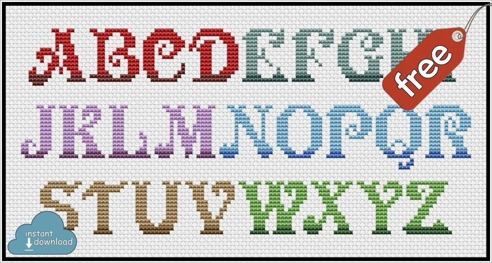 Christmas ABC Cross Stitch Pattern PDF + XSD. Instant Download. Free