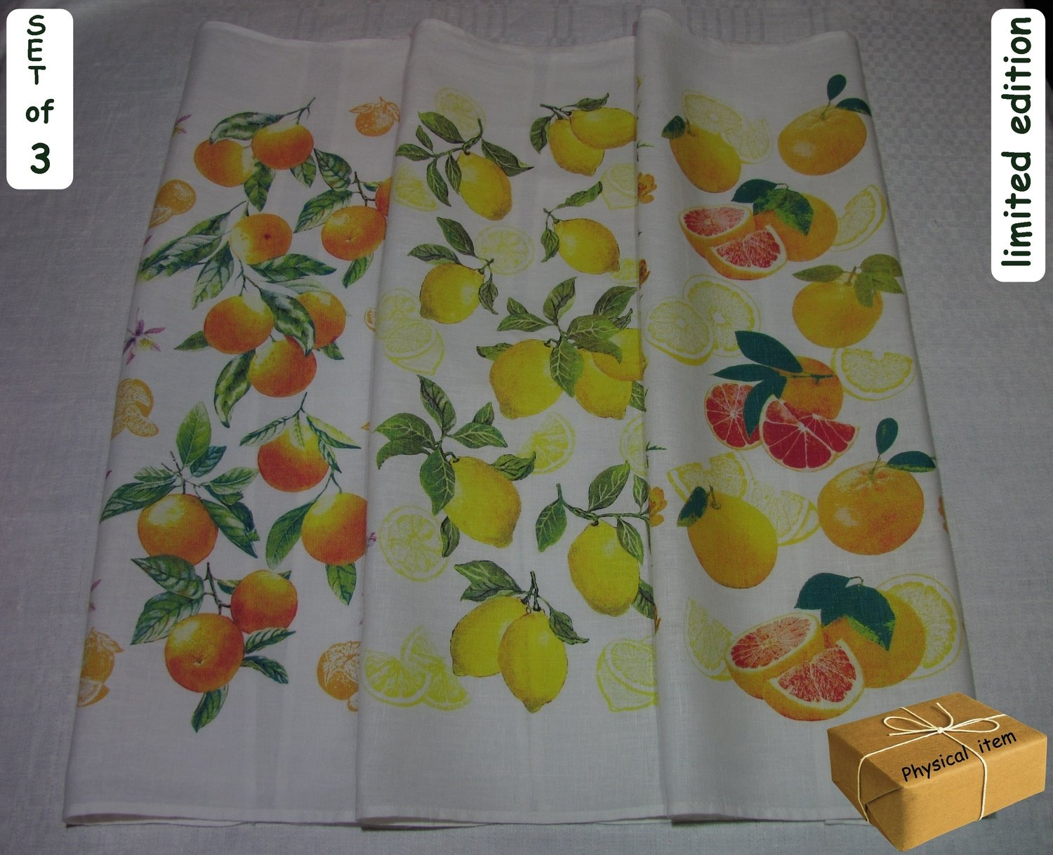 """Citrus Burst"". Kitchen Towels Set (3 pieces)"