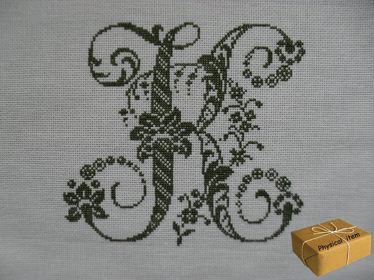 Antique Letter K Monogram. Handmade Embroidery. FINISHED