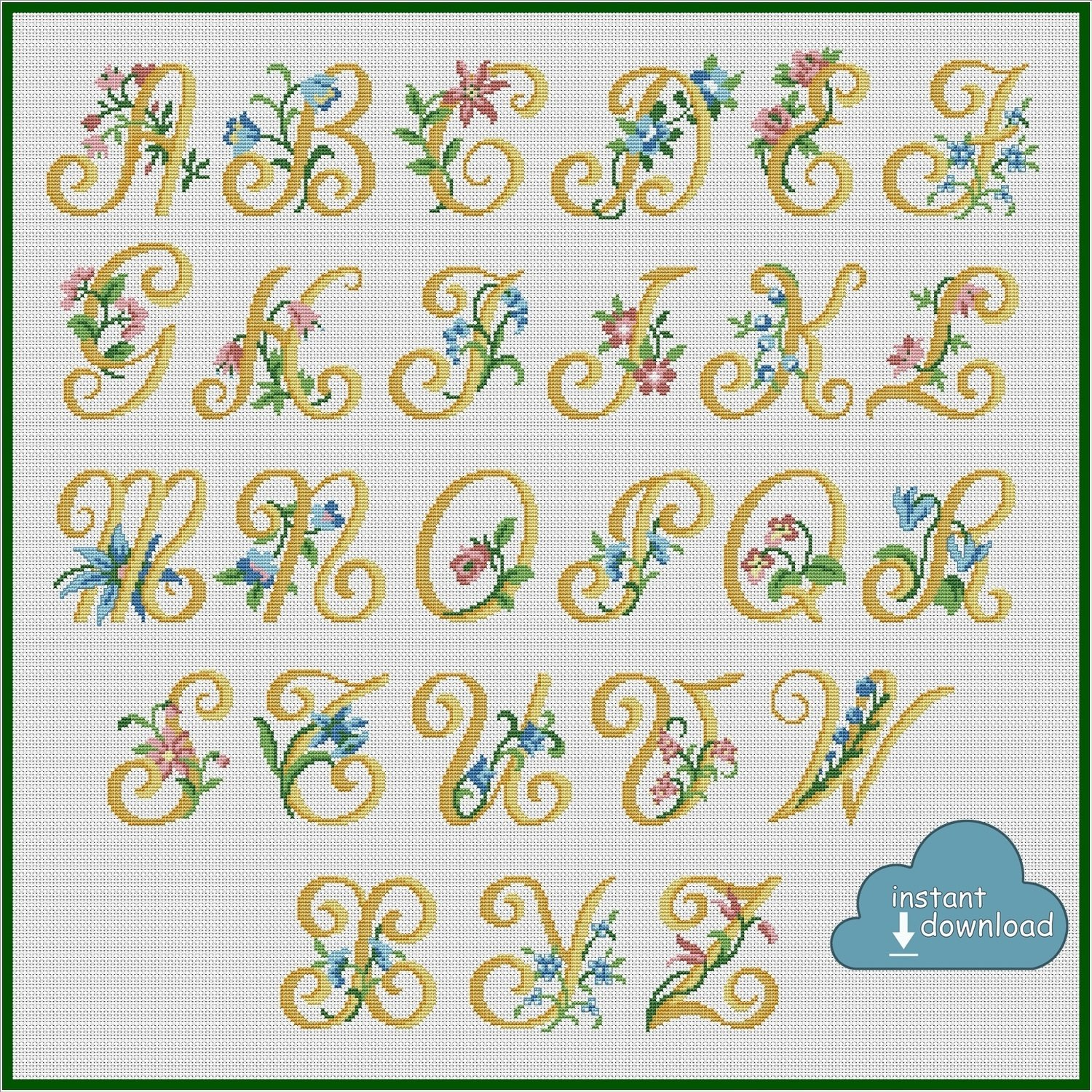 Alphabet Monogram Cross Stitch Pattern PDF + XSD. Flowers ABC Cross Stitch Chart PDF. Instant Download