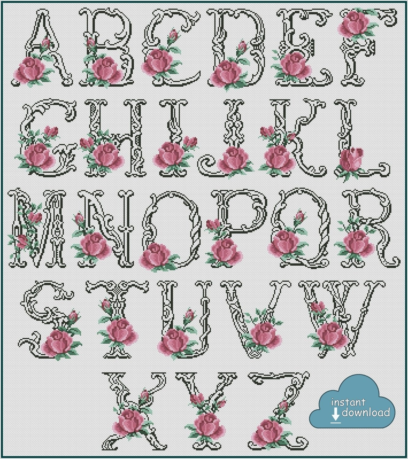 Antique Roses Alphabet Monogram Cross Stitch Pattern PDF + XSD. Instant Download
