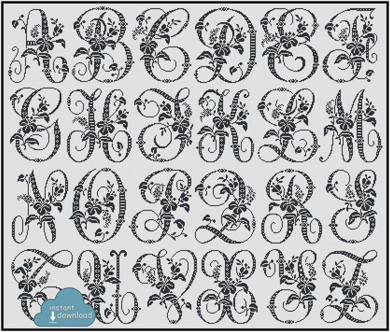 Antique Alphabet Monogram Cross Stitch Pattern PDF. Flowers ABC Cross Stitch Chart PDF. Instant Download