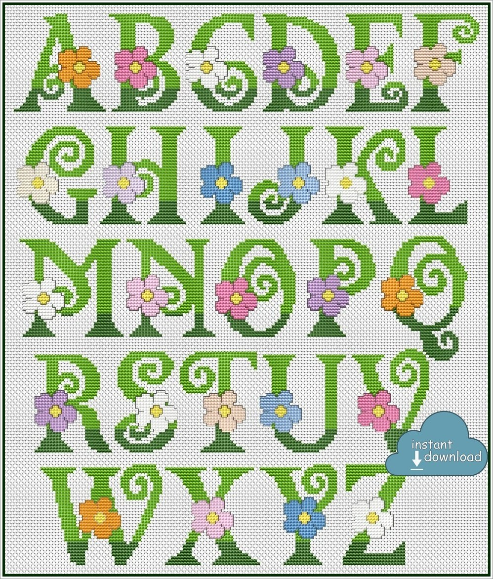 Summer Alphabet Monogram Cross Stitch Pattern PDF + XSD. Flowers ABC Cross Stitch Chart PDF. Instant Download