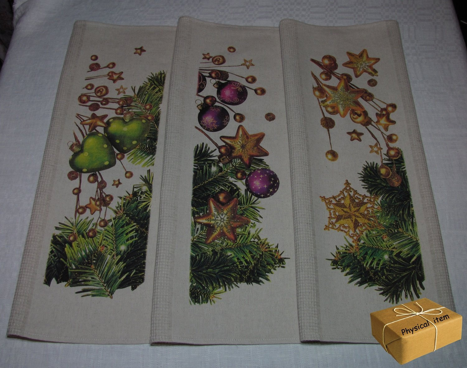 """Christmas Towels Set #3"". Kitchen Towels Set (3 pieces)"
