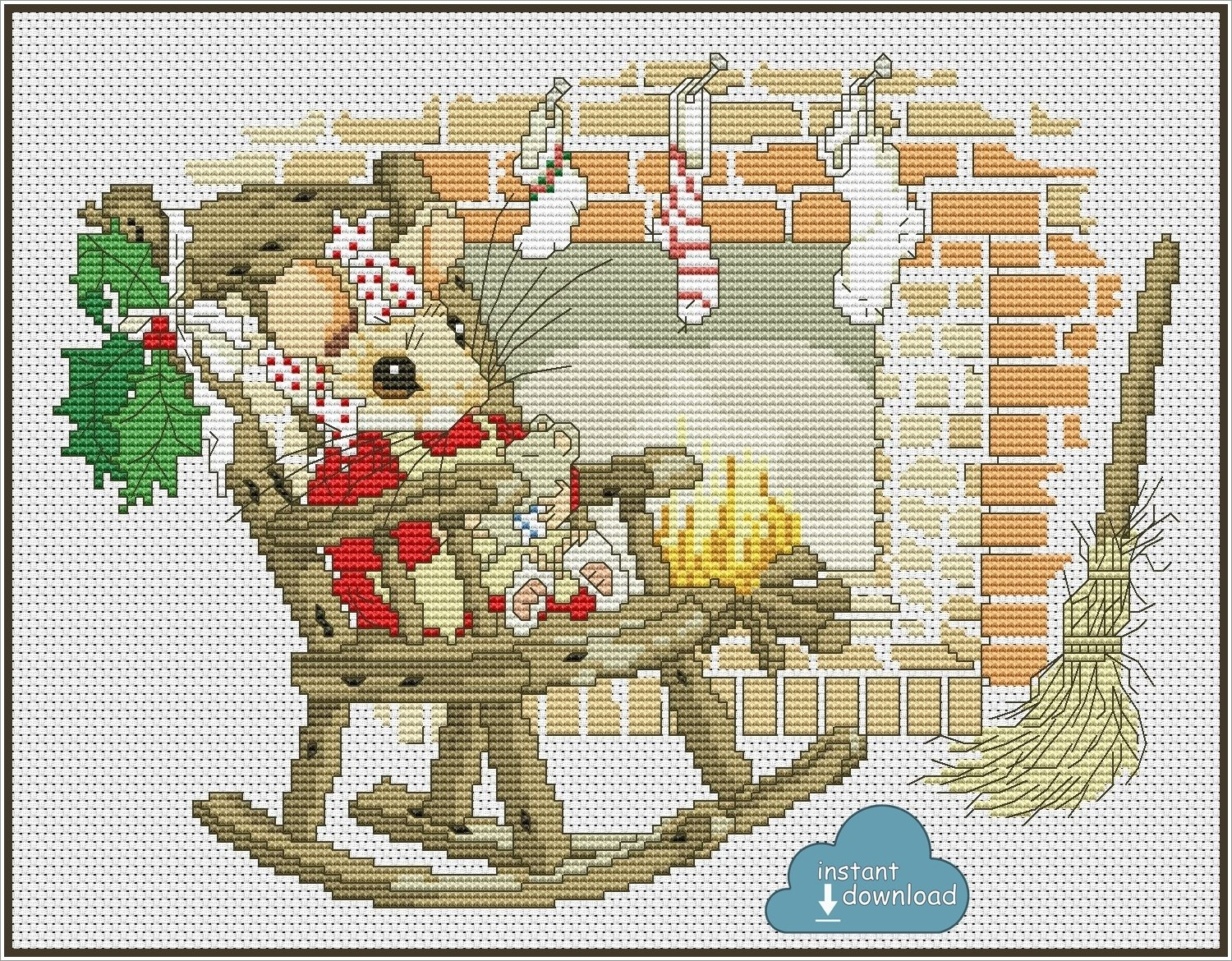 Christmas Mouse Cross Stitch Pattern PDF. Instant Download.