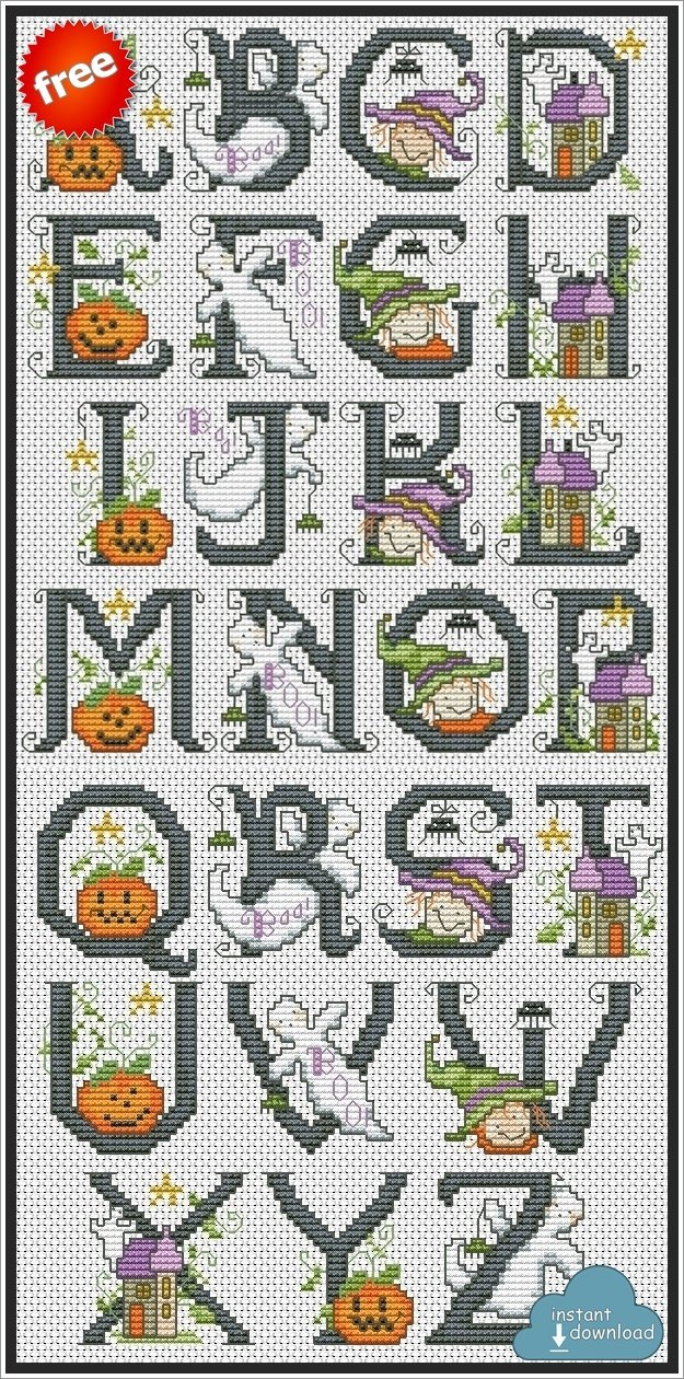Halloween ABC Cross Stitch Pattern PDF + XSD. Spooky ABC Cross Stitch Chart PDF. Instant Download. Free